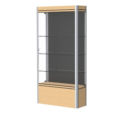 Contempo Series Lighted Floor Display Case Case Backing: Black, Frame Color: Satin, Base Color: Light Maple ()