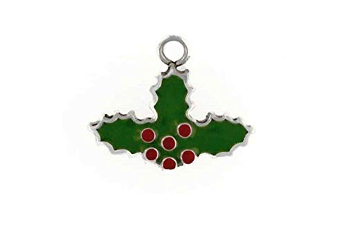 Pendant Jewelry Making/Chain Pendant/Bracelet Pendant Sterling Silver Enameled Holly Leaf Charm