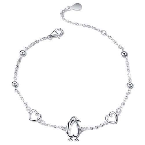 (Adjustable Penguin Bracelets,925 Sterling Silver Polished Animal Love Heart Bead Ball Chain Beacelet Jewelry Gift for Women Girls (Penguin Bracelets))