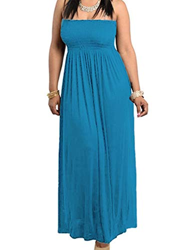 811 - Smocked Chest Strapless Tube Long Maxi Beach Cover-up Dress (1X, Teal Blue)