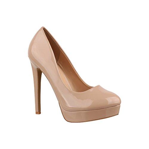 Elara Plateau Pumps | Moderne Damen High Heels | Stiletto Schuhe Beige Monaco