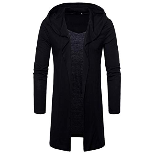 Beaded Wool Coat - Mens Long Sweatshirt,Realdo Casual Autumn Winter Solid Slim Trench Coat Jacket Cardigan Long Sleeve Outwear(XX-Large,Black)