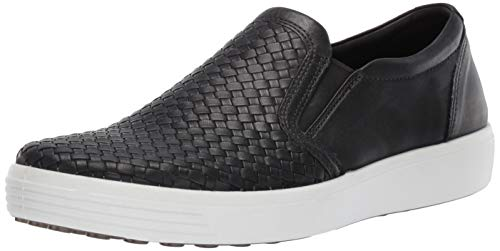 ECCO Men's Soft 7 Slip On Sneaker, Black Plaited, 40 M EU (6-6.5 US) from ECCO