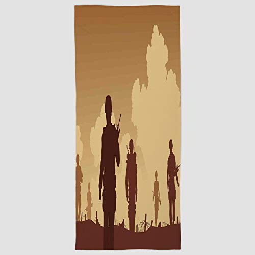 Cotton Microfiber Hand Towel [ War Home Decor,Soldier Shadows with Military Costumes and Weapons Walking on Patrol Print,Brown Cream ] for Hotel SPA Beach Pool Bath