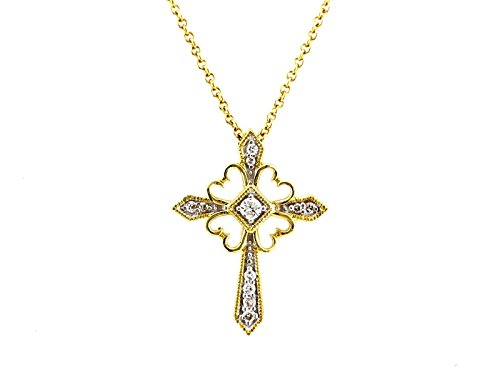 0.11ct Micro Pave Set Diamond 14K Yellow Gold Cross Pendant Necklace 16