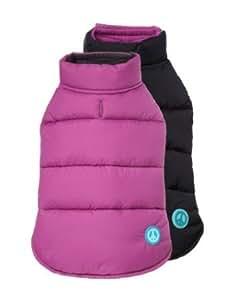 "Fab Dog Reversible Puffer Vest Dog Jacket, Peace Purple/Black 8"" Length"