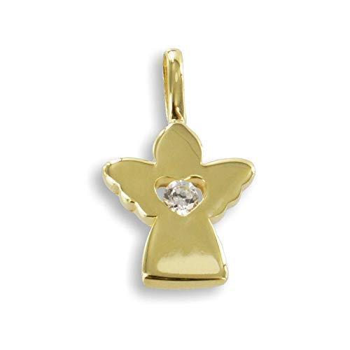 Veneziakette vergoldet 36 cm Anh/änger Schutzengel mit ausgestanztem Herz und Zirkoniastein wei/ß echt Gold 333 inkl