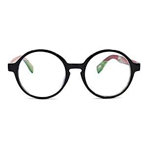 Amillet Wooden Vintage Retro Round Glasses Frame Clear Lens Fashion Circle Eyeglasses 48mm