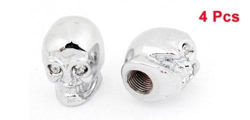 Cr/âne t/ête de voiture en forme de valve de pneu Stem Cap Cover Tone Argent Transparent x 4