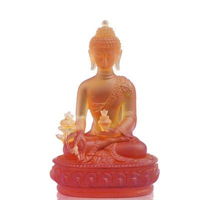 (Kiartten Buddha Statue - Opening Resin Pharmacist Buddha Glass Ornaments by Pharmacist Buddha Statue Living Room Porch Decoration Home Decorations Crafts)