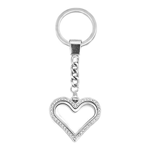 Corykeyes 30mm Heart Shaped Glass Living Memory Locket Keychain For Floating Charms Magnetic Key Ring (07)