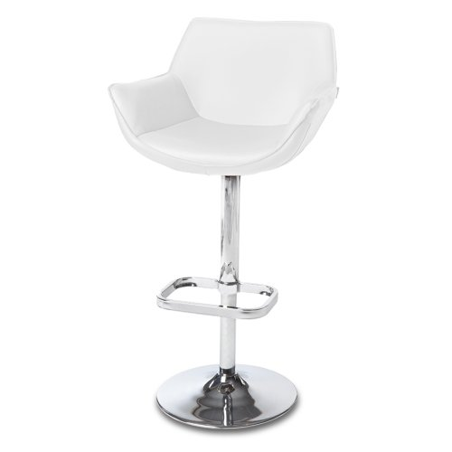 Zuri Furniture White Pinot Adjustable Height Swivel Armless Bar Stool