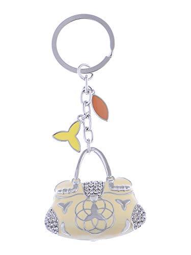 (Alilang Enamel Cream Nude Ladies Designer Handbag Swarovski Crystal Rhinestone Keychain)