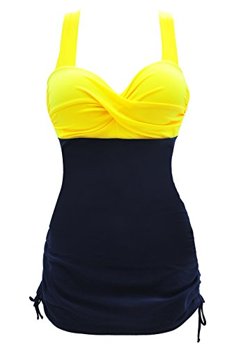 Graceful.u 50s Elegant Inspired Retro Vintage One Piece Pin Up Monokinis Swimdress, Large