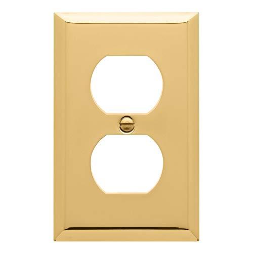 "Baldwin Estate 4752.030.CD Square Beveled Edge Duplex Wall Plate in Polished Brass, 4.5""x2.75"""