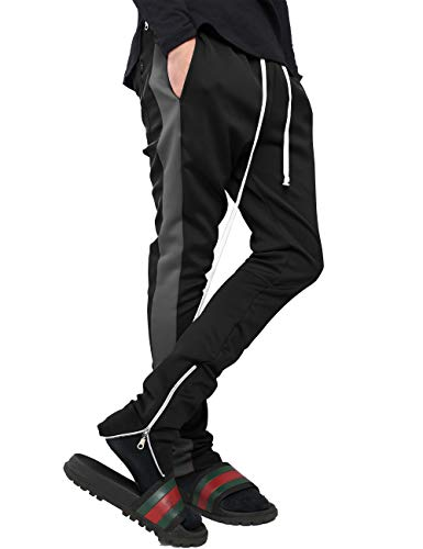 - Mens Stripe Track Pants Skinny Fit Stretch Trouser Elastic Jogger 1VWA0006 (Medium, p122_Blk/Char)