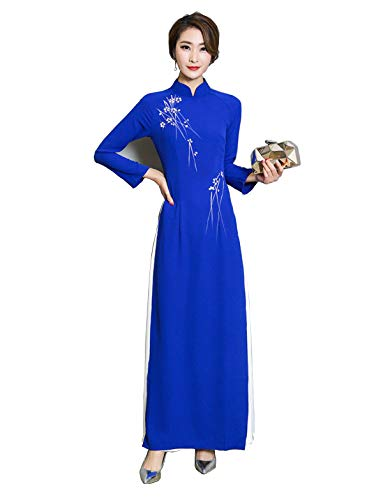 Aries Tuttle Chinese Style Women's Birthday Party Collar Floral Long Cheongsam Dress Retro Gown Qipao Blue
