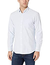 Camisa Oxford de manga larga con rayas regulares de los hombres de   Essentials
