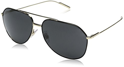 Dolce & Gabbana Men's Metal Man Aviator Sunglasses, Black/Pale Gold, 61 - Sunglasses Dolce