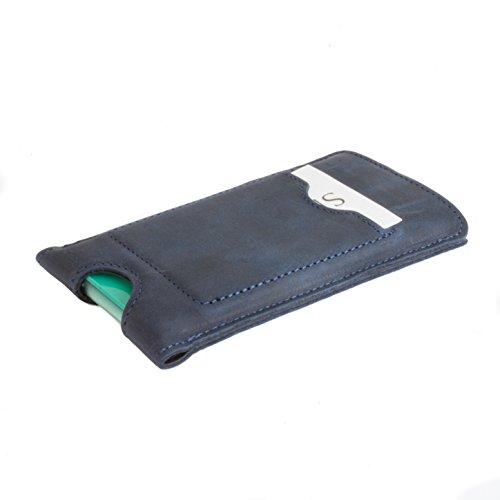 Snakehive® Sony Xperia Z3 Compact Funda cartuchera de la Colección Vintage en cuero nubuck con ranuras para tarjetas de crédito/billetes (Castaño) Marina Blu