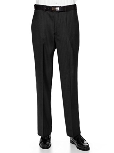 (GIOVANNI UOMO Mens Pleated Front Pin Striped Dress Pants 42long Black)