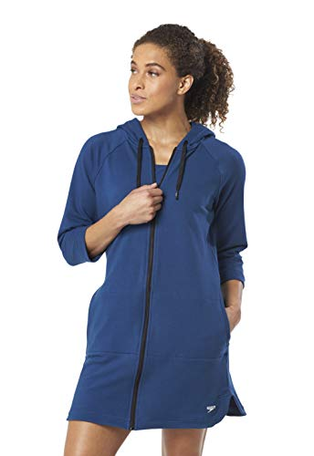 Speedo Women's Hooded Aquatic Fitness Robe and Cover-Up, with Full Front Zip, Deep Teal, L ()