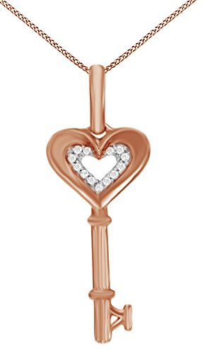 Silver Keychain Diamond Sterling (Jewel Zone US White Natural Diamond Accent Heart Top Key Chain Pendant Necklace in 14k Rose Gold Over Sterling Silver)