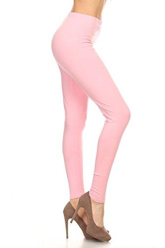 Leggings Depot Women's Premium Quality Ultra Soft Cotton Spandex Solid Leggings (Pink, (Solid Pink Leggings)