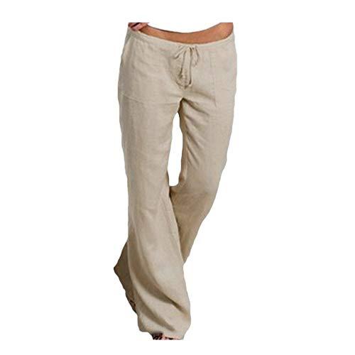 (UONQD 2052d New Women Ladies Pocket Elastic Band Trousers Long Pants Baggy Wide Leg Pants Khaki)