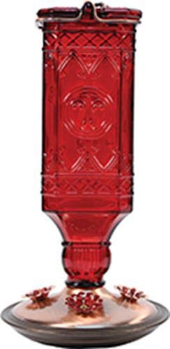 Perky-Pet 8116-2 Red Square Antique Bottle Glass Hummingbird Feeder