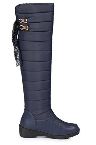 Platform 2 Blue1 Lightweight Women' 5 Wedge Knee Waterproof Over Slip Winter Size 9 Snow GFONE The Boots Boots On Warm 5 X7awqRR1x