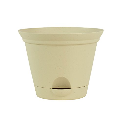 - 3 Pack 11.5 Inch Latte Quartz Plastic Self Watering Flare Flower Pot or Garden Planter