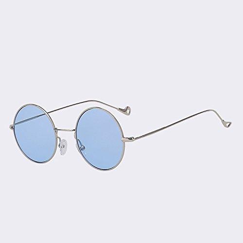 redonda color W de blue Gafas sol gafas de mar Silver espalda de para Oro sea mar rojo de mujeres w TIANLIANG04 Steampunk Vintage UV400 mujeres de moda sol gafas xY8nw5