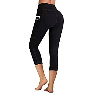 IUGA High Waist Yoga Pants with Pockets, Tummy Control, Workout Pants for Women 4 Way Stretch Yoga Leggings with Pockets (Capri 7881 Black, X-Small)