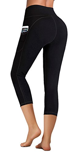 IUGA High Waist Yoga Pants with Pockets, Tummy Control, Workout Pants for Women 4 Way Stretch Yoga Leggings with Pockets (Black Capris, Medium)