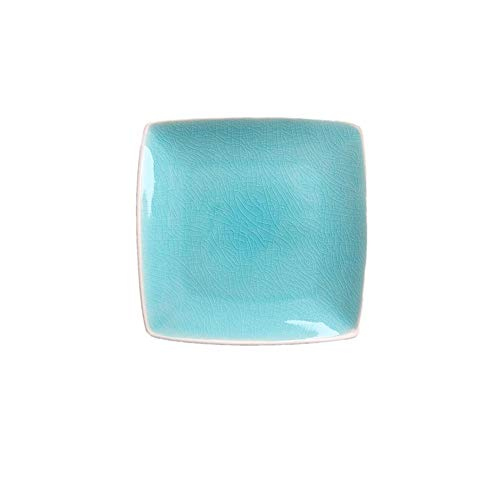 European ice crack glaze ceramic square dish home fruit salad dish dessert Fangxi restaurant set table plate tableware blue -