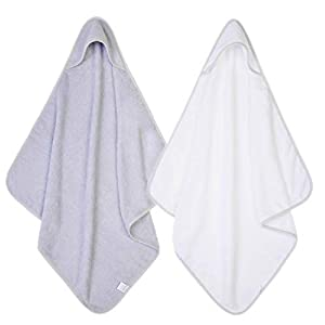 2 x Hooded Baby Towel Soft 100% Cotton Bath Wrap Pack of Two Towels, Grey & White