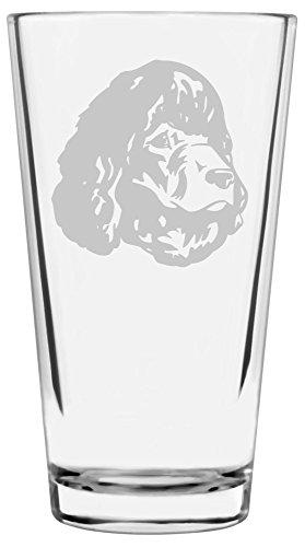 Water Spaniel Dog Art (Irish Water Spaniel Dog Themed Etched All Purpose 16oz Libbey Pint Glass)