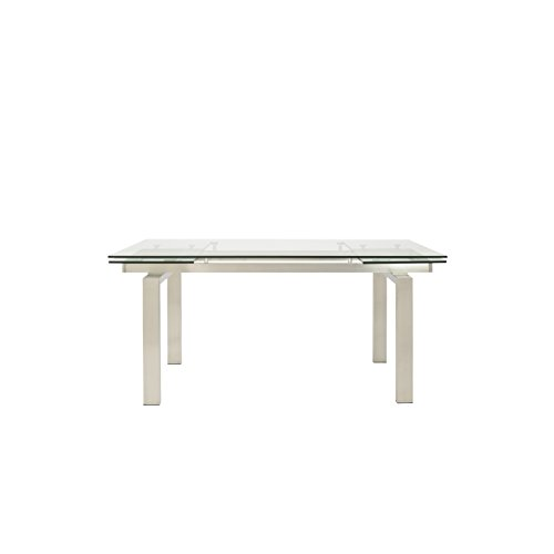 Eurø Style Theodore glass Top Extension Table with Brushed Stainless Steel Frame (Euro Style Glass Desk)