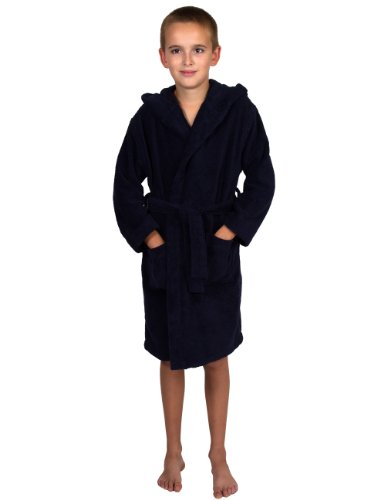 - TowelSelections Big Boys' Robe, Kids Hooded Cotton Terry Bathrobe Cover-up Size 10 Navy