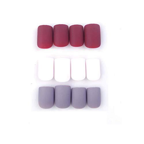 MISUD Square Fake Nails 3 Color Short Matte Press-on Beauty False Nails 72 Pcs Tips Wine-Red Gray White Kits (Charming Tricolor Flower)