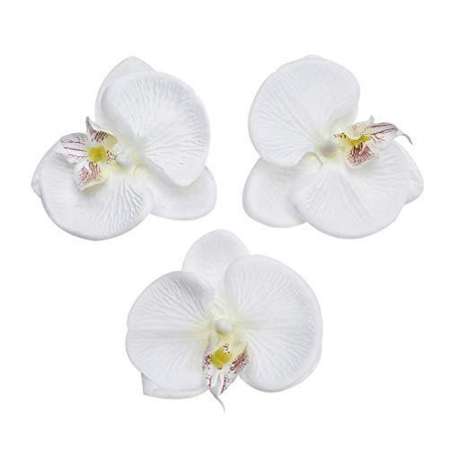 Butterfly Orchid Artificial Flower Plant Silk Flowers Heads Bulk Artificial Fake Flowers Orchid Flowers Artificial Decor Wedding Home Decoration DIY Flores Cymbidium Handmade 20pcs 8cm (White) ()