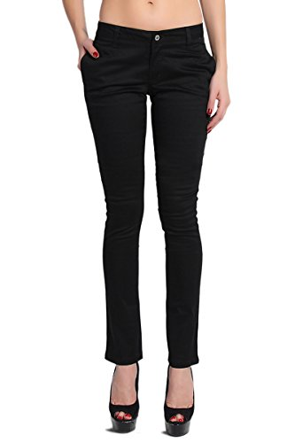Slant Pockets Trousers (TheMogan Women's Dickies Lowrider Slant Pocket Skinny Pants-Black-1)