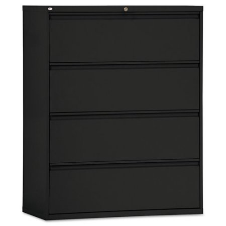 4 Large Drawers File Cabinet, Holds Legal and Letter Size Documents, Organizer, Storage, Removable Lock, Home Office, Work, Furniture, Black Color by ProGiga Select