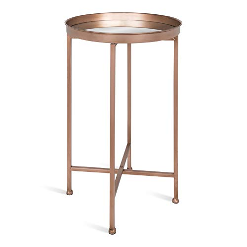 Kate and Laurel Celia Round Metal Foldable Accent Table with Mirror Tray Top, Rose Gold