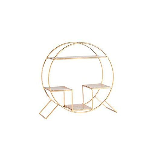 gold LUHEN Creative Simple Desk Racks Fashion Home nishings Creative Cafe Display Rack Retro Iron Storage Rack golden (color   Black)