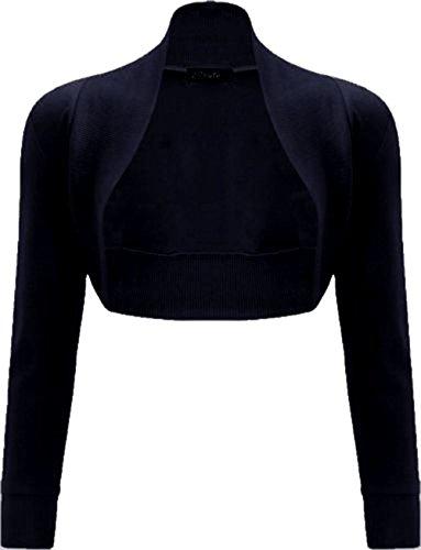 Nero donne Janisramone spalle scrollata bolero liscio manica di a cotone costine lunga top rrF7wd