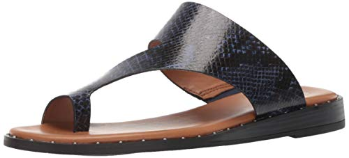 Franco Sarto Women's Ginny Slide Sandal Blue 6 M - Toe Ring Leather