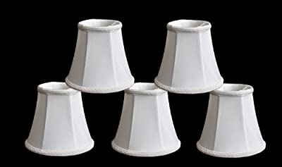 "Urbanest 1100465b Set of 5 Chandelier Lamp Shades, 3x5x4.5"", Bell, Clip On, Off White"
