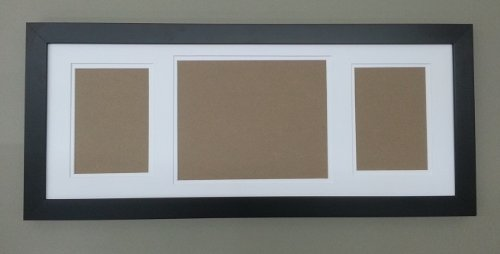 3 opening family mat white double mat in flat black frame for 1 8x10 and 2 5x7 photos